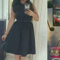 Aubrey Hepburn Dress Vintage style dress. Polyester material  High neck with belt. NWOT. Worn once. Large equals size 8 Dresses