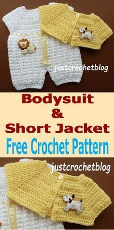 Crochet baby bodysuit and short jacket, free baby crochet pattern. Crochet baby bodysuit and short jacket, free … Baby Romper Pattern Free, Crochet Baby Dress Pattern, Crochet Romper, Baby Girl Crochet, Crochet Baby Clothes, Crochet For Boys, Newborn Crochet, Free Crochet, Crochet Patterns