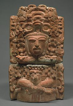 "Mayan Censer with Seated Figure. Terracotta. Guatemala. Circa 5th to 6th Centuries. 14-3/4""."
