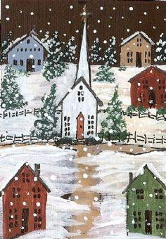 ACEO Original Folk Art Church Snow Scene by Moody detail image