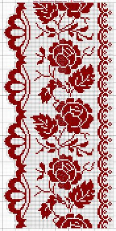 Cross Stitch Rose, Cross Stitch Borders, Cross Stitch Flowers, Cross Stitching, Cross Stitch Patterns, Knitting Patterns, Crochet Patterns, Filet Crochet, Crochet Lace
