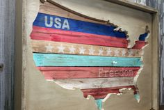 Handmade 3D Rustic Chic Wood USA Wall Decor Map by ThePinkToolBox