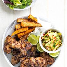 Jerk Chicken Wings with Pineapple Salsa. For a finger-lickin good meal that feeds a hoard in a hurry try these delicious jerk chicken wings. Serve with pineapple & kumara fries. Jerk Chicken Wings, Pineapple Salsa, Tandoori Chicken, Food For Thought, Poultry, Chicken Recipes, Curry, Good Food, Cooking Recipes