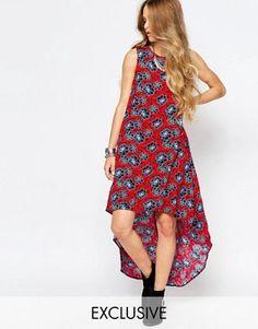 Glamorous Hi Low Hem Vest Maxi Dress In Floral Print