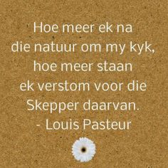 Afrikaanse Inspirerende Gedagtes & Wyshede Louis Pasteur, Sea Quotes, Afrikaans Quotes, South Africa, Quotes To Live By, Amen, Christ, Faith, Gardening