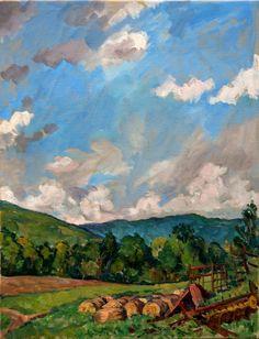 Oil Painting Landscape, Summer Farm, Berkshires. Original Oil on Canvas, Impressionist Landscape Painting. $390.00, via Etsy.