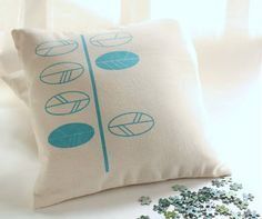 Cushion covers  turquoise leaves screen printed by Netamente, $30.00