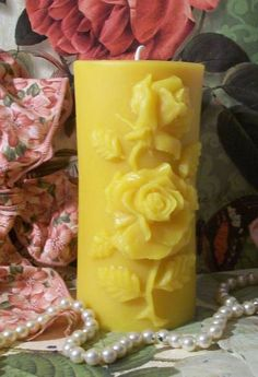 Beeswax Rose Pillar Flower Candle For Unity