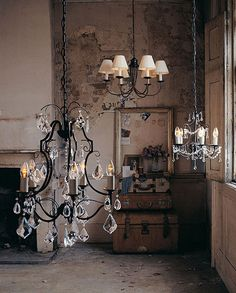 Love multiple chandeliers.  So doing this in kitchen.
