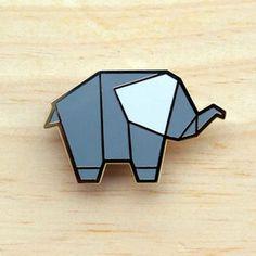 Image of Origami pins: Elephant
