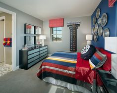 Hub caps as an alternative to traditional over-the-bed #art - Peoria Residence by Meritage Homes