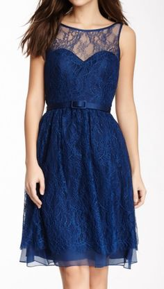 Navy Belted Lace Dress