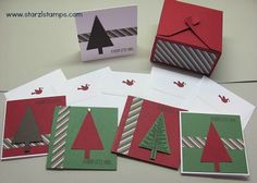 Lynn's Gift Box Punch Board box for 3x3 cards & envelopes. Her card set features Festival of Trees & Trim the Tree dsp. Box size given. All supplies from Stampin' Up!