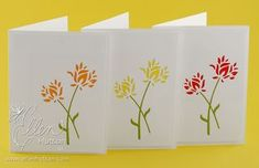 Wild Blooms notecard set - die cut again for inset green stems and simply cut a rectangle of colour and adhere behind the flowers.