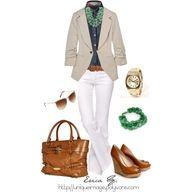White, Blue Jean & Tan Blazer