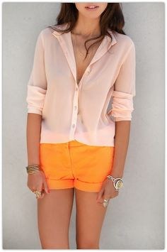 pale peach button down and orange high wasted shorts