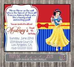 Snow White Invitation for Birthday Party or by FromTheHartDesign, $15.00