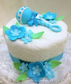 Confections, Cakes & Creations!: Beautiful Blue Baby Shower Cake!