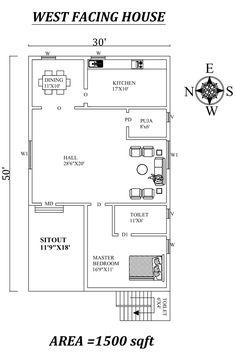 Single bhk West facing House Plan As Per Vastu Shastra.Autocad DWG and Pdf file details. Little House Plans, 2bhk House Plan, Small Modern House Plans, Model House Plan, House Layout Plans, Bungalow House Plans, Bedroom House Plans, House Layouts, Studio Floor Plans