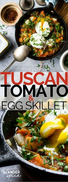 Tuscan Tomato & Egg Skillet - Crisp potatoes, chunky tomatoes, creamy eggs and a host of spices is a great way to welcome the morning. Breakfast And Brunch, Best Breakfast, Healthy Breakfast Recipes, Brunch Recipes, Vegetarian Recipes, Dinner Recipes, Healthy Recipes, Breakfast Ideas, Brunch Ideas