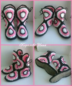 Crochet Stitches Patterns, Stitch Patterns, Knitting Patterns, Crochet Sandals, Crochet Shoes, Knitted Slippers, Lana, Diy And Crafts, Baby Shoes