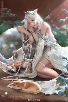 By Artist Unknown. Foto Fantasy, Fantasy Kunst, Anime Art Fantasy, Art Anime, Dark Fantasy Art, Fantasy Artwork, Anime Art Girl, Manga Anime, Fantasy Women