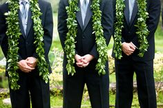 The maile is the most traditional wedding lei, as it was used by the Kahuna (Hawaiian priest) in old Hawaii to bind the hands of the bride and groom, symbolizing their commitment to each other.