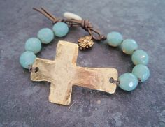 Sideways cross bracelet 'Sacrifice' blue green opal, rustic hammered gold cross, leather, sundance, country chic, southwestern