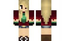 minecraft skin Green-and-Red-Girl