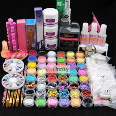 48 Colors Acrylic Powder Glitter Nail Art Jumbo Liquid Tips Brush Glue Tools Kit Powder Glitter Nails, Glitter Manicure, Liquid Nails, Glitter Nail Art, Powder Nails, Manicure And Pedicure, Diy Nails, Powder Pink, Sparkle Nails
