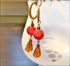 women beaded earrings dangle drop earrings carnelian by fatash1