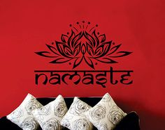 Wall Decal Indian Yoga Namaste Words Lotus Flower Buddha Ganesha Mandala Vinyl Sticker Decals Wall Decor Home Interior Design Art Mural KV22