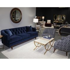 Living Room Color Scheme Navy Royal The Story 83 - athomebyte Wood Furniture Living Room, Living Room Sofa, Home Living Room, Interior Design Living Room, Living Room Designs, Navy Living Rooms, Blue Living Room Decor, Living Room Color Schemes, Sofa Design