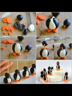 Penguins.   Made of carrots, olives and some white shit.