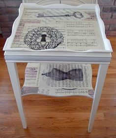 Decoupage cottage table in a crisp shade of white has a pretty French inspired motif with vintage sheet music. This cottage table would make the perfect accent table has we have finished off with a glass top. Decoupage Furniture, Hand Painted Furniture, Refurbished Furniture, Paint Furniture, Repurposed Furniture, Shabby Chic Furniture, Furniture Projects, Furniture Makeover, Diy Projects
