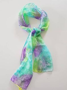 This item is unavailable Handmade Scarves, Spring Colors, Silk Scarves, Green And Purple, Fashion Accessories, My Etsy Shop, Hand Painted, Turquoise, Check