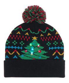 75cfb4cc79f656 Black & Green Christmas Tree LED Pom-Pom Beanie Pom Pom Beanie Hat, Beanie