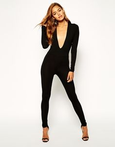 ed12b45275ae ASOS Body Fit Jumpsuit with Deep Plunge at asos.com