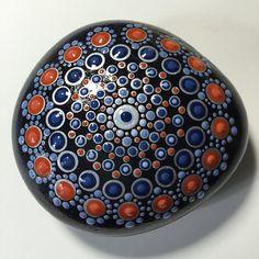 Pintado a mano de Mandala de piedra, piedra de meditación Mandala, punto arte…