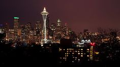 Seattle lit up at night from Kerry Park on the top of Queen Anne Hill in Seattle, Washington.