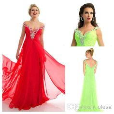 Wholesale Sexy Prom Dresses - Buy Beautiful 2014 Lime Green Prom Dresses V Neck Cap Sleeve A Line Floor Length Sexy Split Front/Side Crystal Beads Chiffon Evening Dress, $91.32   DHgate