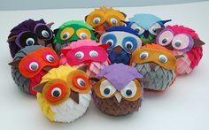 owl felt orbs...I want a whole basket of these little twackers!