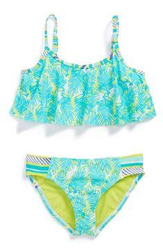 Roxy Palm Print Two-Piece Flutter Swimsuit (Toddler Girls, Little Girls & Big Girls) | Nordstrom Summer Bathing Suits, Cute Bathing Suits, Summer Swimwear, Kids Swimwear, Toddler Swimsuits, Cute Swimsuits, Cute Bikinis, Two Piece Swimsuits, Roxy