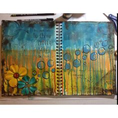 """Art Journal - """"this above all: to thine own self be true : Shakespeare""""   Acrylic paint, distress ink, Tim Holtz Mask, flowers, buttons, alcohol ink, gel pens, glimmer mists"""