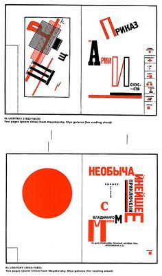 El Lissitzky's extraordinary typographic work: page spreads for a book of poems by Mayakovsky
