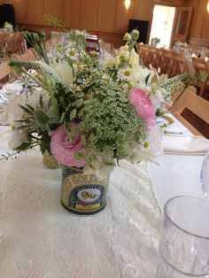 Cute spring table centres using a golden syrup tin, adds to the hand picked look, www.mrs-umbels.co.uk Tin Can Alley, Tin Flowers, 50th Birthday, Birthday Ideas, Golden Wedding Anniversary, Golden Syrup, Table Centers, Wedding Flowers, Invitations