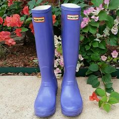 Hunter Boots! Purple Hunter tall orginals. Good condition, except one buckle is broken.  Really cute, I love Hunters!  Size 5 Hunter Boots Shoes Winter & Rain Boots