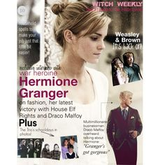 Witch Weekly Hermione Interview by hpalltheway on Polyvore featuring jared, Lavender Brown, harry potter, dramione, hermione granger and malfoy
