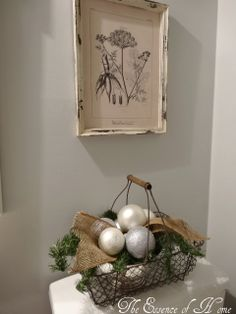 The essence of home bathroom basket with burlap trim looks f Burlap Bathroom, Bathroom Baskets, Rustic Christmas, Winter Christmas, Christmas 2014, Merry Christmas, Diy Home Decor Bedroom, Diy Home Decor On A Budget, Winter Home Decor