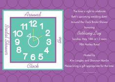 Round The Clock Wedding Shower Invitations
